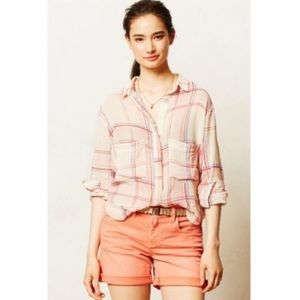 anthropologie • holding horses sheer plaid top